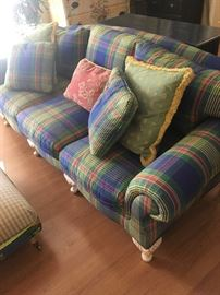 Nifty colorful  Designer sofa w/coordinated foot stool & serving tray