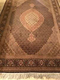 Persian Tabriz hand-knotted fish pattern wool/silk rug