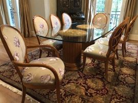 Century Furniture neoclassical dining chairs with custom silk upholstery