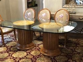 Century Furniture glass top dining table with neoclassical double column pedestals