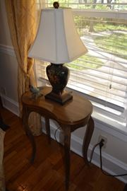 Small end table, table lamp, painted