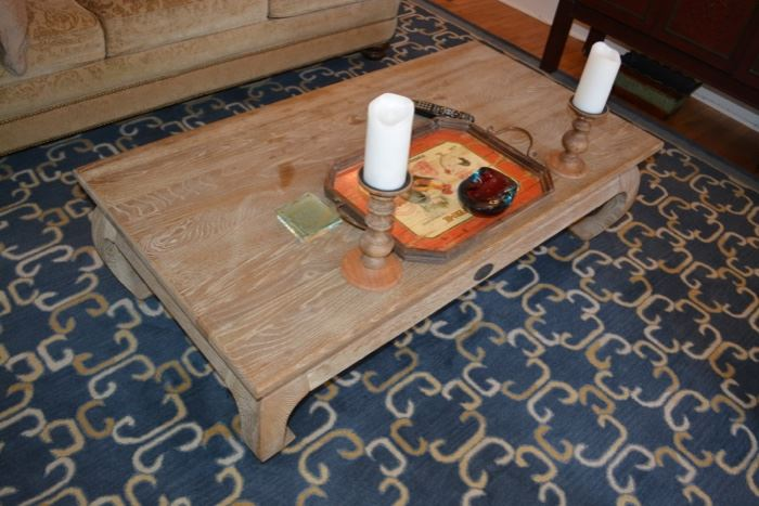 Soft Surroundings weathered oak low coffee table