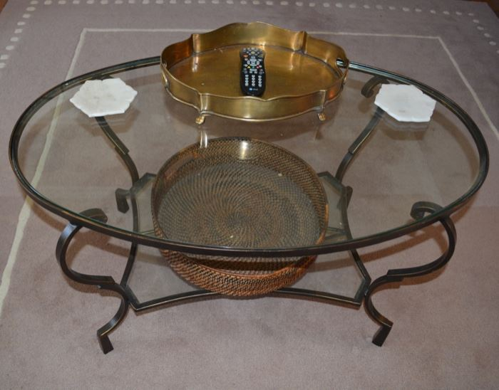 Wrought iron / glass top coffee table