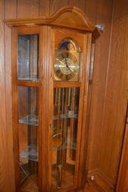 Oak Grandfather Clock / Curio Cabinet