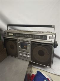 Vintage boombox with box