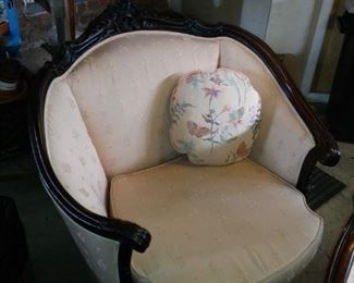 Victorian Barrel Chair, asking 400. all New Foam Padding and Upholstery.