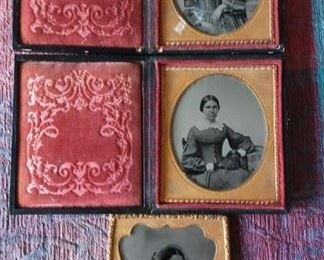 Three Antique Ambrose type images of ladies.  Lovely Condition.  w strong light and dark features.  keep away from light.