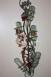 Bottle Tree with Antique Round Bottom Ginger Ale Bottles