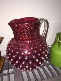 Fenton cranberry pitcher- large