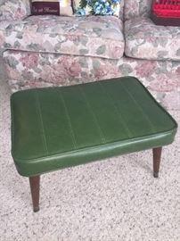 Mid Century green foot stool/ottoman