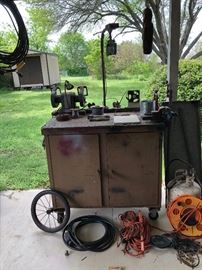 Power tool cart with tools