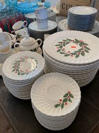 Beautiful Christmas dishes including coffee service.  Complete set of Noritake service for 14 with extra cups and plates.