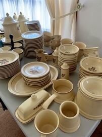Complete set of Pfaltzgraff, including mugs, serving pieces, canisters--Unbelievable!!