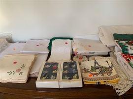 vintage linen sets, many hand-embroidered