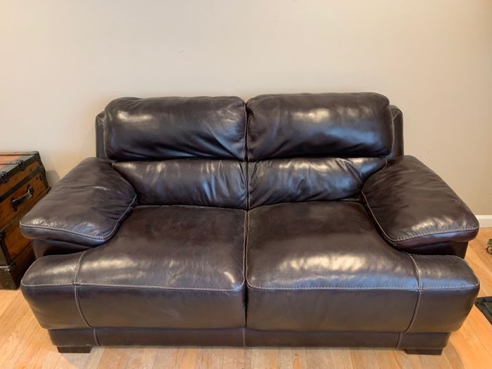 """18. Chocolate Brown Leather Loveseat (68"""" x 36"""" x 38"""")"""