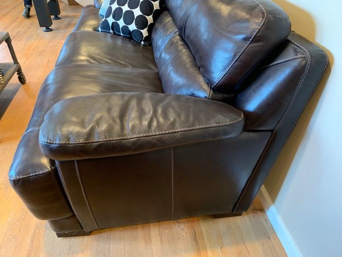 "19. Chocolate Brown Leather Sofa  (88"" x 36"" x 38"")"