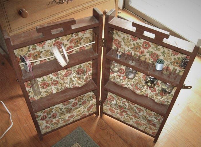 Antique sewing box. Closes