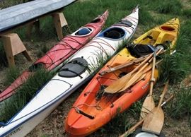 Three kayaks. Many accessories available.