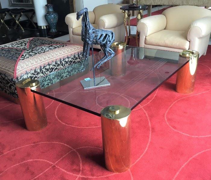 Karl Springer Brass & Glass Coffee Table