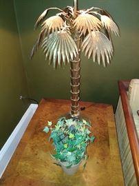 PR Bronze Jansen Palm Tree Table Lamps Mid Century Modern