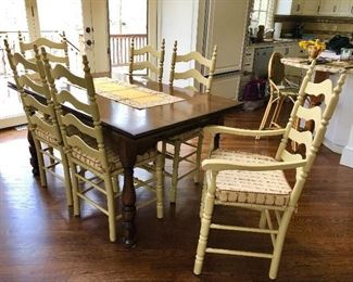Vintage Kitchen Table with built in extensions and 6 Ladder Back Chairs