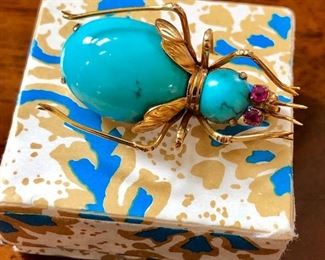 Antique 14K, turquoise bug with ruby eyes
