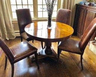 Round Top Vintage Pedestal Table with pretty inlays