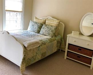 Country cute while queen bed and white one drawer side table with basket drawers