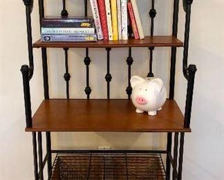 Wood and metal baker's rack