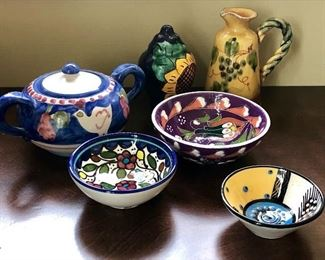 Many cute pieces of Mexican and South American pottery