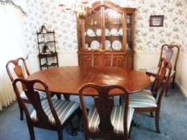 Table and 6 chairs, China cabinet