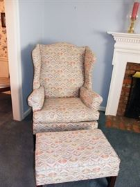 Wing chair with ottoman