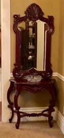Vintage mahogany hand carved fancy cut mirror and ornate console table.  Reproduction styled in 18th century Rococo/Baroque.