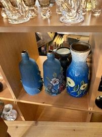 Here is a better look at the blue vases - they are like works of art - very unusual