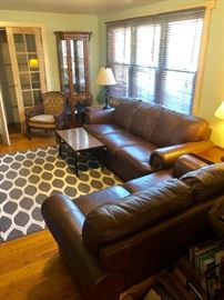 Gorgeous leather living room suite (sofa, love seat & club chair)