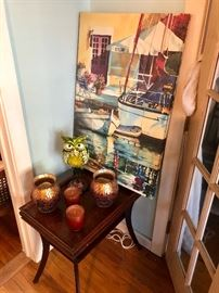 matching end table with beautiful decor - love the owl!