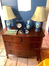 Beautiful antique dresser.  The blue lamps are fabulous - they are like sculptures!
