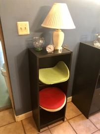Bookcase cabinet -there is a pair of the white lamps