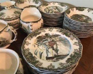 Johnson Bros - The Friendly Village - The Stone Wall - place settings and serving pieces