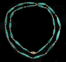 Description: Malachite and 14K yellow gold bead necklace. Length: 28 inches.  Weight: 1.09 ounces troy. Dimensions: 9 inches.