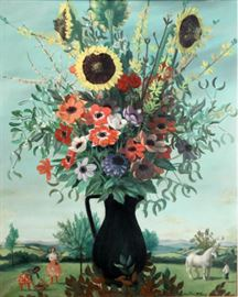 Jean-Pierre Alaux (French b.1925) Oil on Canvas Surreal Floral                                                                                                             Description: Artist signed lower right: Jean Pierre Alaux. Unframed.                                                                                    Shipping weight: 3 3/4 lbs.  Size: 31 3/4 x 25 1/2 inches.