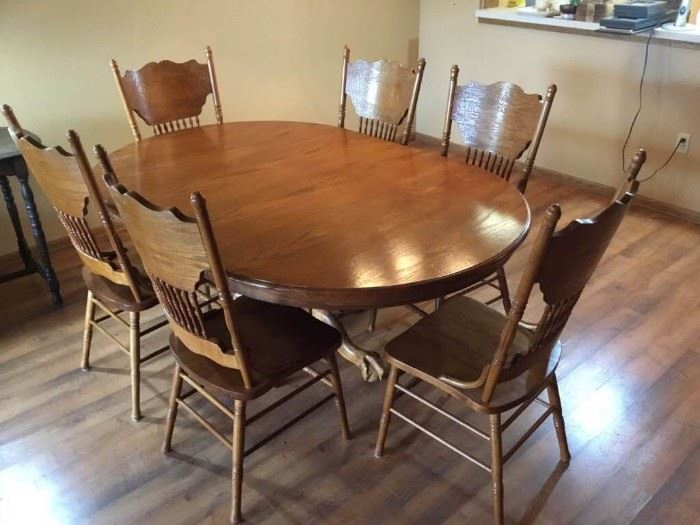 Vintage Oak Dining Table with Chairs
