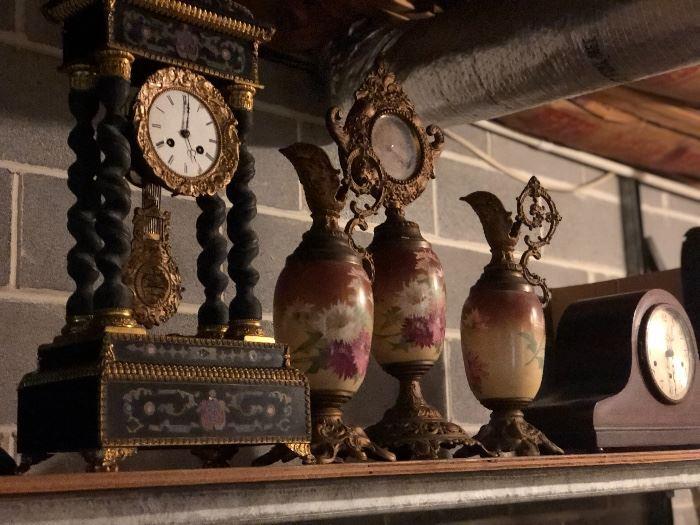 Several antique clocks