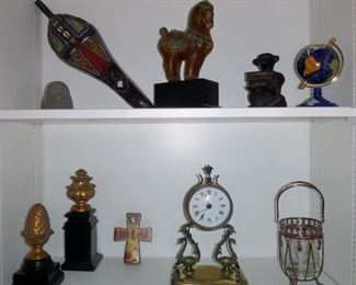 some of the decorative accessories, including a hand carved & beaded mask (upper left corner) that she brought home from Senegal
