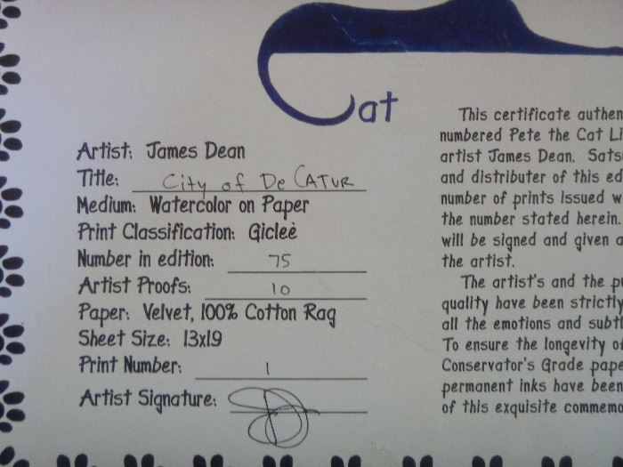 "Very cool ""Pete the Cat"" signed/numbered painting"