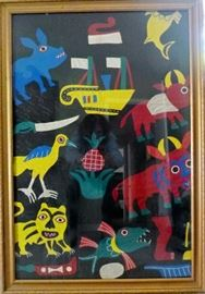 really great piece of framed fabric art purchased in Senegal, Africa when she was visiting there
