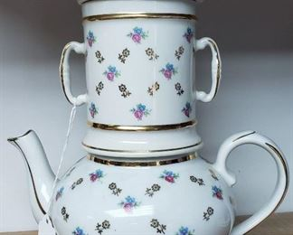 "Vintage French Apilco Pillivuyt Porcelain Stacking Teapot (10 5/8"" Tall); Tag Price- $85, Sale Price- $45"