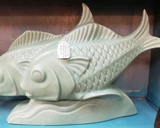 "Circa 1930 French Art Deco Le Jan Mint Green Ceramic Craquelle Fish Sculpture (11 7/8"" Tall); Tag Price- $325, Sale Price- $175"