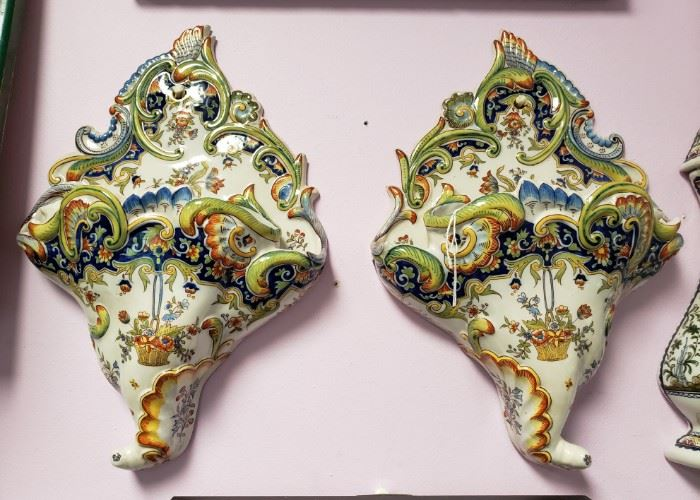 "Pair of Mid 19th Century French Rouen Porcelain Floral Motif Wall Pocket Vases (16"" Tall); Tag Price- $800, Sale Price- $425"