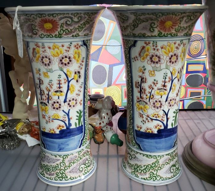 "Pair of Early 1900's Delft Boch Freres Keramis Faience Floral Pattern Vases Made in Belgium (11 5/16"" Tall); Tag Price- $500, Sale Price- $265"